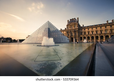 Paris, France - OCTOBER 2016. Louvre Museum. Famous historical art landmark in Europe.