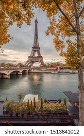 Paris, France - October 2018 : Eiffel Tower and the Seine on an autumn day