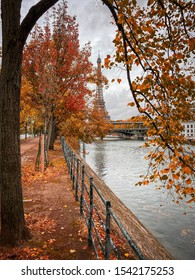 Paris, France - October 2019 : Eiffel tower in Paris France on an autumn day behind brown leaves of trees, Tour Eiffel in the fall