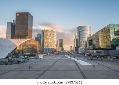 Paris, France. October 21, 2014: View of Business and Shopping district La Defense in Paris.