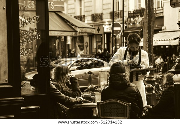 Paris France October 22 2016 Waiter Stock Photo (Edit Now) 512914132