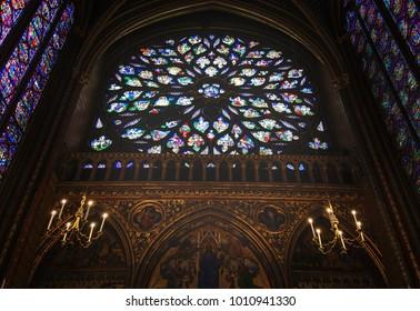 Paris, France; October 22, 2017: Inside view of Sainte-Chapelle