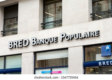 PARIS, FRANCE - OCTOBER 23, 2019. BRED Banque populaire logo on Bred bank office. BRED Banque populaire is the most important cooperative bank in France