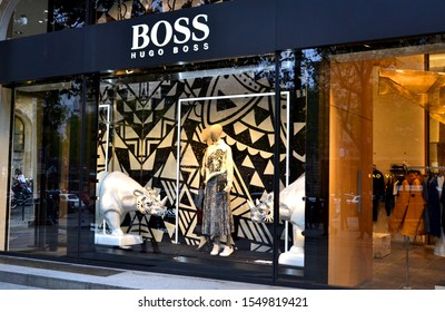Paris, France - October 24th 2019 : Shop window of Hugo Boss for winter 2019.