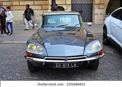 Paris, France - October 24th 2019 : Grey DS citroen parked in front of the Automobile club of France.
