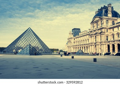 PARIS, FRANCE - OCTOBER 26, 2010: View of Louvre building in Louvre Museum. Louvre Museum is one of the largest and most visited museums worldwide.