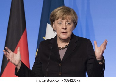 PARIS, FRANCE - OCTOBER 27, 2015 : German Chancellor Angela Merkel at the Elysee Palace for a digital conference in the context of European Round Table of Industrialist.