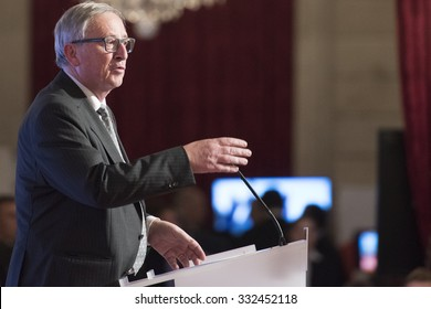PARIS, FRANCE - OCTOBER 27, 2015 : President of European Commission Jean-Claude Juncker at the Elysee Palace for a digital conference in the context of European Round Table of Industrialist.