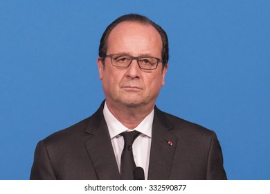 PARIS, FRANCE - OCTOBER 27, 2015 : French President Francois Hollande at the Elysee Palace for a digital conference in the context of European Round Table of Industrialist.