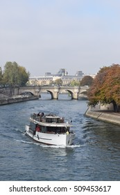 Paris France - October 27 2016 - The view of Seine river with sightseeing tour boat