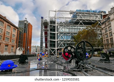 PARIS, FRANCE - OCTOBER 27 2018: Centre Georges Pompidou complex building in the Beaubourg area of the 4th arrondissement of Paris