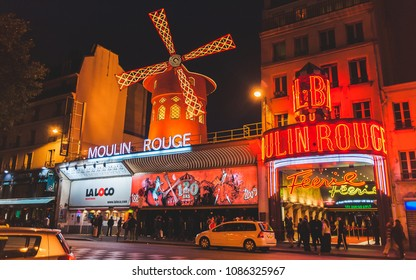 PARIS, FRANCE - OCTOBER 3, 2009: Famous cabaret Moulin Rouge on Place Pigalle near Montmartre at night