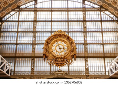 Paris, France - October 3, 2016: The Giant Clock at the Musee d'Orsay  in Paris, France. The museum houses the largest collection of impressionist and post-impressionist masterpieces