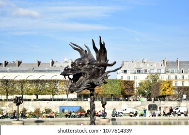 Paris, France – October 30, 2015: Installation view of the Dragon, from Ai Weiwei's Circle of Animals/Zodiac Heads, in Paris.
