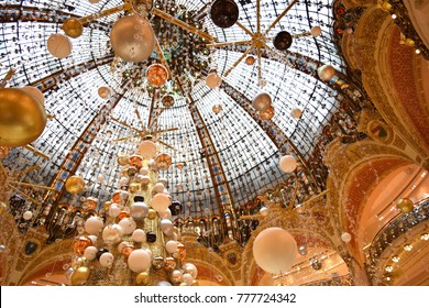 Paris, France - October 30, 2015: Christmas decoration on display in Galeries Lafayette.