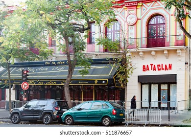 Paris, France - October 30, 2016:  New Bataclan logo on the front wall of this concert hall where 90 people were killed on November 13th 2015 by Islamic State fanatics.