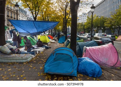 Paris, FRANCE - OCTOBER 31, 2016 : Urban migrant camp in northeastern Paris near the Stalingrad subway station.