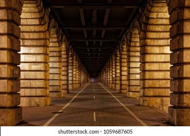 Paris, France - October 31, 2017: Bercy bridge archway in Paris city