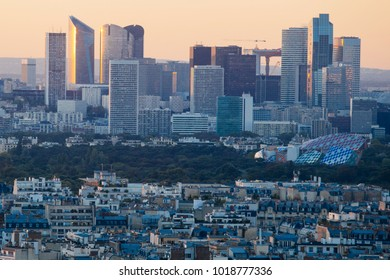 Paris, France - October 5, 2015: Sunset view from Eiffel tower to la Defence area in Paris as seen on 5 of October, 2016