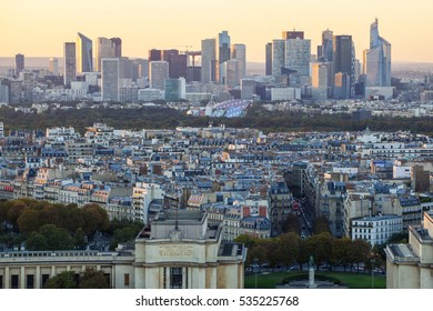 Paris, France - October 5, 2016: aerial view of Paris with Seine river at night. Paris is the capital of France and one of Europes major centres of finance, commerce, fashion, science, and the arts