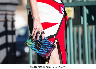 Paris. France - October 5, 2016: Details of clothing after the Louis Vuitton show spring/summer 2017 at Fashion Week in Paris. Street style photo