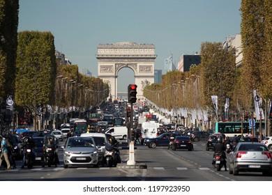 PARIS, FRANCE - OCTOBER 5 2018 -  Paris street congested traffic jam all along city.
