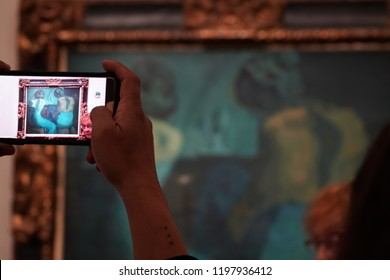 PARIS, FRANCE - OCTOBER 5 2018 -  Exposition of Pablo Picasso at Orsay Museum full of tourist, from blue to pink period