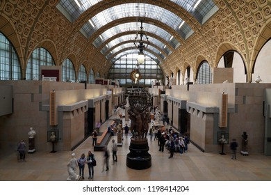 PARIS, FRANCE - OCTOBER 5 2018 -  Orsay Museum is railway station built in 1900, with the largest collection of impressionist masterpieces in the world, including Monet, Manet, Degas, Renoir, Van Gogh