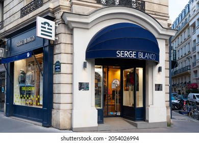 Paris, France - October 5, 2021: Exterior view of a Serge Blanco boutique, a French brand specializing in menswear, created by former rugby player Serge Blanco