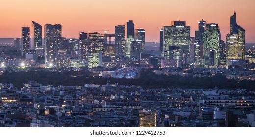 PARIS, FRANCE - October 6,  2016: Paris, France. La Defense, aerial view of business quarter. in sunset time