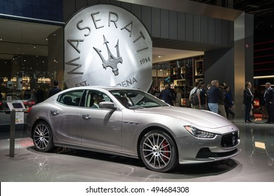 PARIS, FRANCE - OCTOBER 6, 2016: New Maserati cars are shown at Paris Motor Show. Maseratiâ??s sporty saloons, the Quattroporte and Ghibli, have been given a series of upgrades for the 2017 model year.