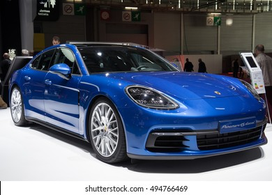PARIS, FRANCE - OCTOBER 6, 2016: The Porsche Panamera is unveiled at Paris Motor Show. The second-generation Porsche Panamera has a Nurburgring lap record for a sports saloon.