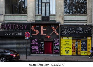 PARIS, FRANCE - October 6, 2016 - Sex shops in the Paris red-light district of Pigalle