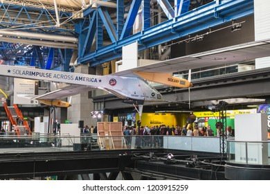 Paris, France - October 6, 2018: Exhibition of the famous Solar Impulse HB-SIA electric aircraft during the Science Fair 2018 in the hall of the City of Science and Industry