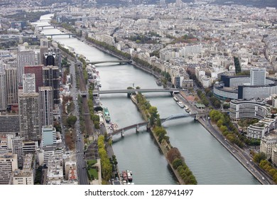 Paris, France. October 7, 2011. View of the city from the height of the Eiffel Tower