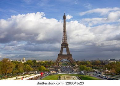 Paris, France. October 7, 2011. Beautiful view of the autumn city and the Eiffel Tower
