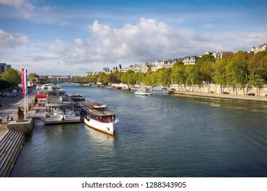 Paris, France. October 7, 2011. Beautiful view of the city and the river Seine on a sunny autumn morning