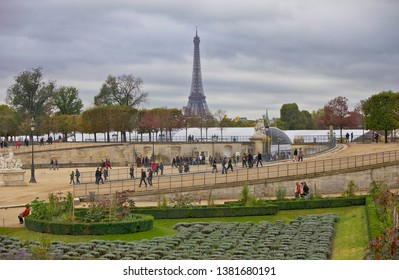 Paris, France, October 9, 2011. View of the Tuileries Garden and the Eiffel Tower