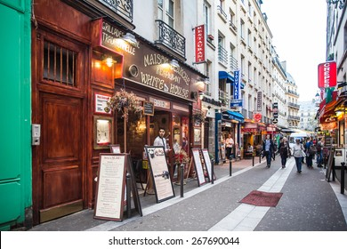 PARIS, FRANCE - OCTOBER 9, 2014: Image of street scene from the Latin Quarter on the left bank of Paris France