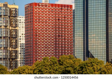 PARIS, FRANCE - OCTOBER 9, 2016: View of business district of Defense to the west of Paris. Defense is biggest business district in France and most of large companies have offices here.