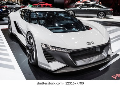 PARIS, FRANCE - October 9, 2018 : The Audi PB18 e-tron, a 2-door hatchback electric supercar concept developed by a division of the German automaker Audi AG, Audi Sport at the Paris Motor Show 2018.