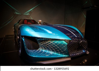 PARIS, FRANCE - October 9, 2018: The asymetric electric concept car DS X E-Tense at the Festival Automobile Internationnal. It's a three-seat concept founded on an association of two vehicules in one.