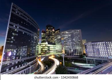PARIS, FRANCE - OCTOBER 9, 2018: Night view of La Defense quartier, a major business district of Paris. La Defense welcomes 8.4 million visitors each year.