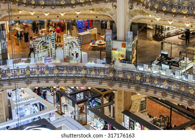 PARIS, FRANCE, on AUGUST 26, 2015. Fragment of an interior of the main trading floor of flagman shop Galeries Lafayette