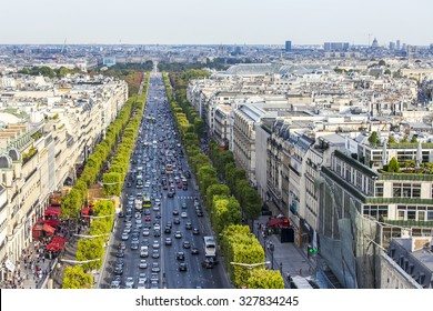 PARIS, FRANCE, on AUGUST 30, 2015. The top view from a survey platform on Arc de Triomphe on the Champs Elyse. The Champs Elyse - one of the most beautiful prospectuses of Paris