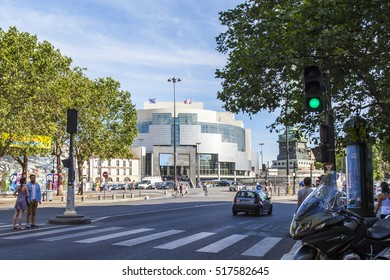 PARIS, FRANCE, on JULY 10, 2016. A typical urban view. Theater building Opera Bastille in a distance