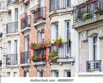 PARIS, FRANCE, on JULY 11, 2016. Typical city architecture. Building facade fragment