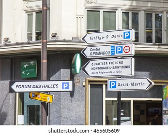 PARIS, FRANCE, on JULY 12, 2016. Typical urban view. Elements of transport navigation. The traffic light at the intersection