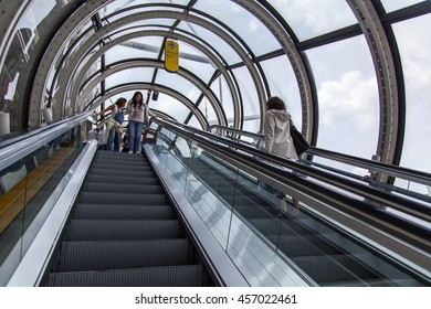 PARIS, FRANCE, on JULY 6, 2016. The escalator conducting on survey gallery of the Centre Georges Pompidou