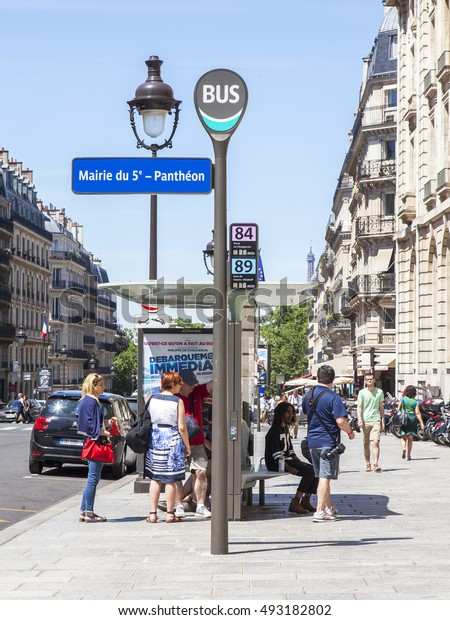 PARIS, FRANCE, on JULY 8, 2016. The bus-stop on the city street